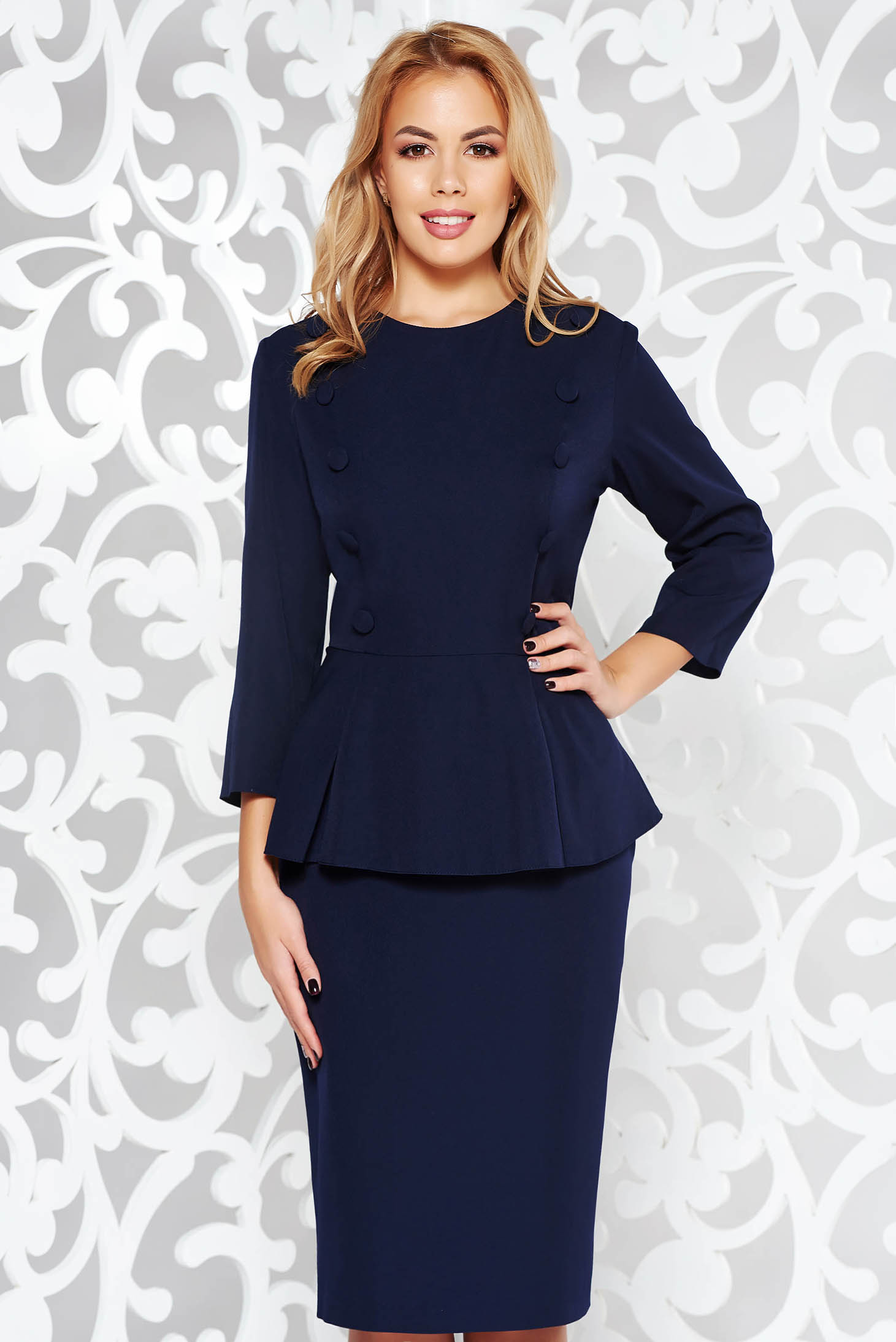 Rochie albastra-inchis office midi tip creion din stofa subtire usor elastica cu peplum