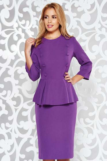 Purple dress office pencil midi slightly elastic fabric with frilled waist