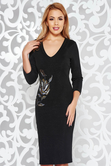 StarShinerS black elegant embroidered pencil dress knitted fabric with lame thread with inside lining