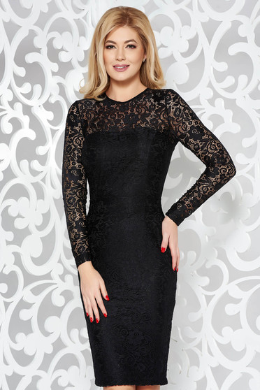 StarShinerS black occasional pencil dress from laced fabric with inside lining long sleeved