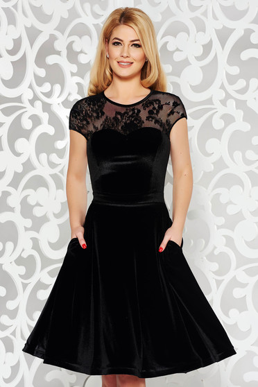 StarShinerS black occasional cloche velvet dress with inside lining with pockets