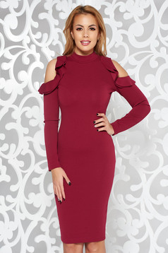 StarShinerS burgundy pencil daily dress both shoulders cut out slightly elastic fabric midi