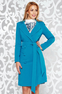 Artista turquoise trenchcoat office with inside lining with pockets accessorized with tied waistband slightly elastic fabric