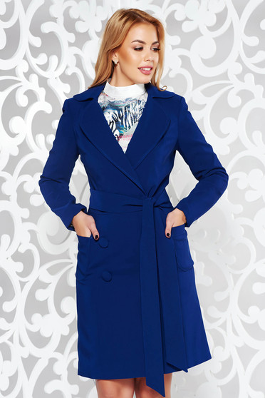 Artista darkblue trenchcoat office with inside lining with pockets accessorized with tied waistband slightly elastic fabric