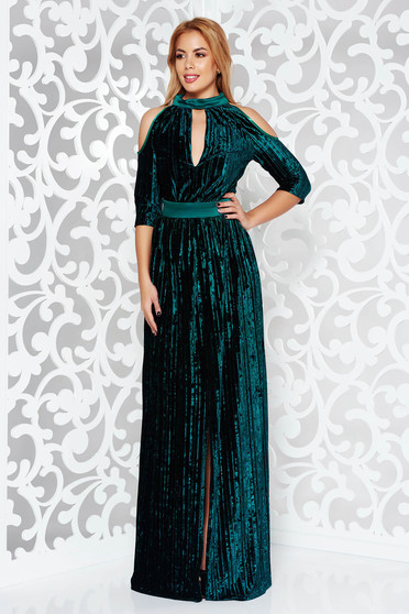 Artista darkgreen occasional with cut-out sleeves dress wrap around with deep cleavage velvet folded up