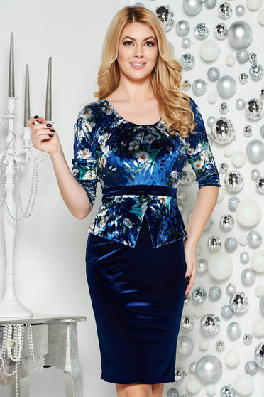 Darkblue elegant from velvet pencil dress with frilled waist with floral prints