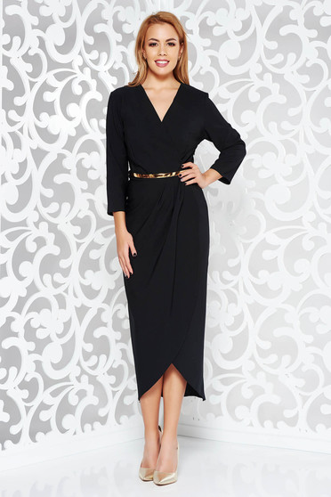 Black dress elegant slightly elastic fabric with inside lining accessorized with belt