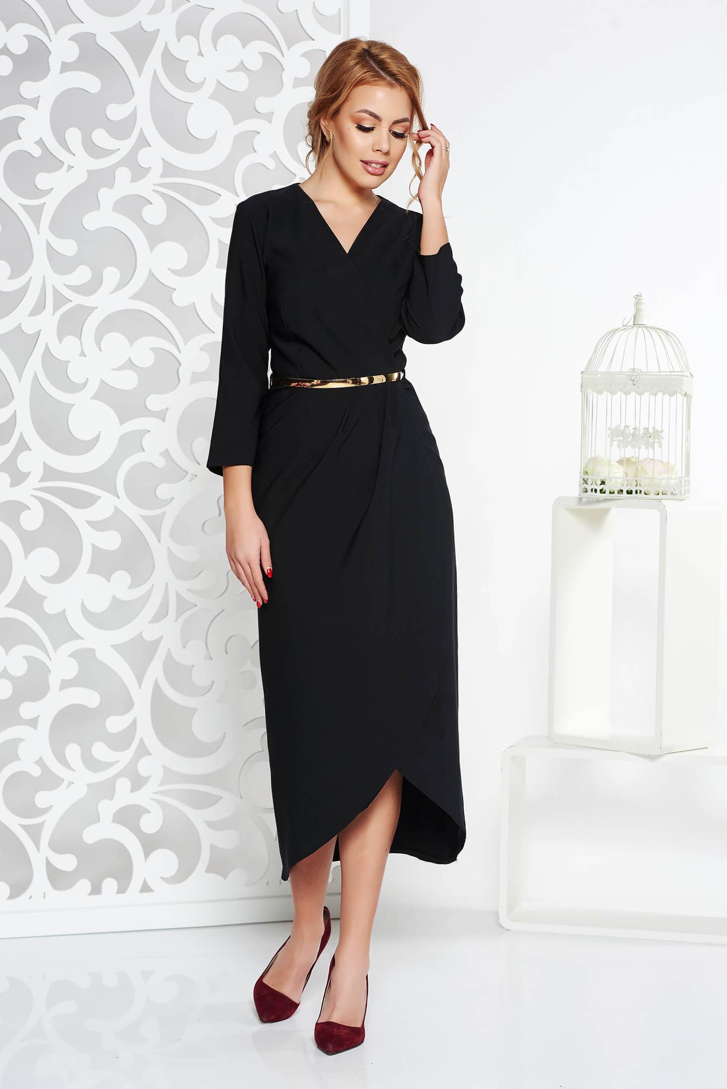 Rochie neagra eleganta din stofa subtire usor elastica captusita pe interior cu accesoriu tip curea