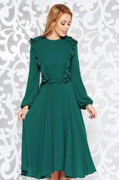Green elegant midi cloche dress voile fabric with inside lining accessorized with tied waistband