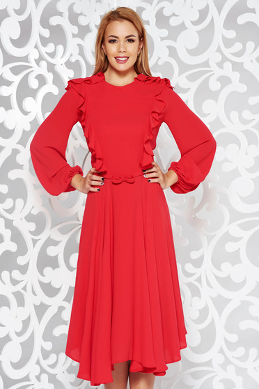 Red dress elegant midi cloche voile fabric with inside lining accessorized with tied waistband
