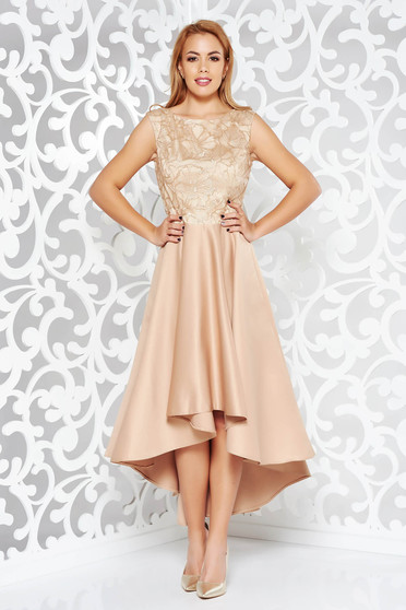 Gold occasional asymmetrical dress from satin fabric texture with sequin embellished details