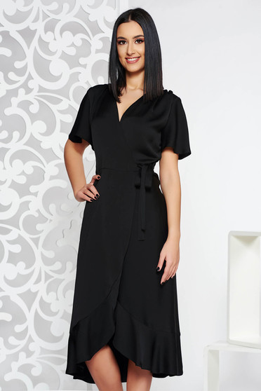Black occasional wrap around dress non-flexible thin fabric with ruffles at the buttom of the dress