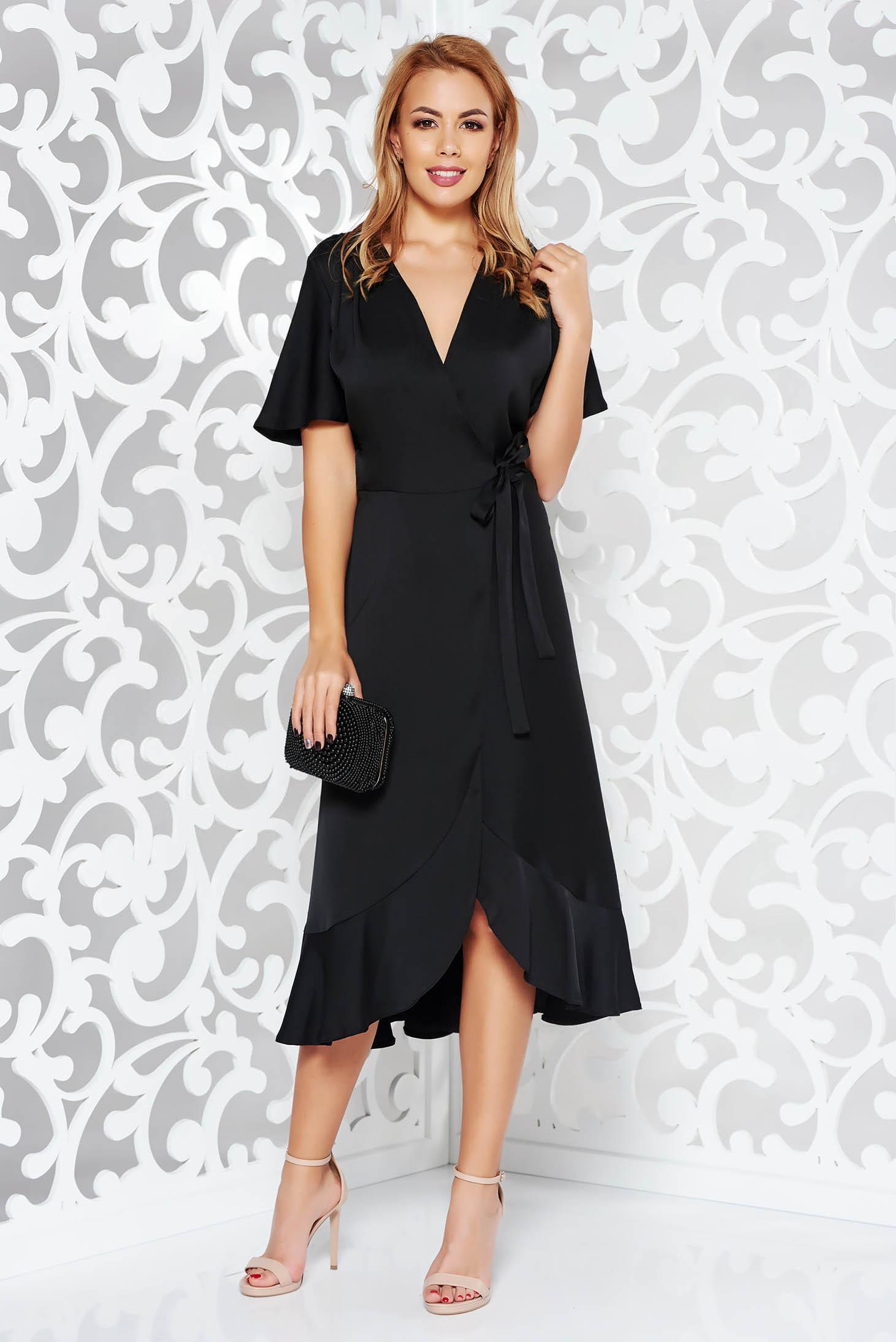 Rochie neagra de ocazie petrecuta din stofa neelastica subtire cu volanase la baza rochiei
