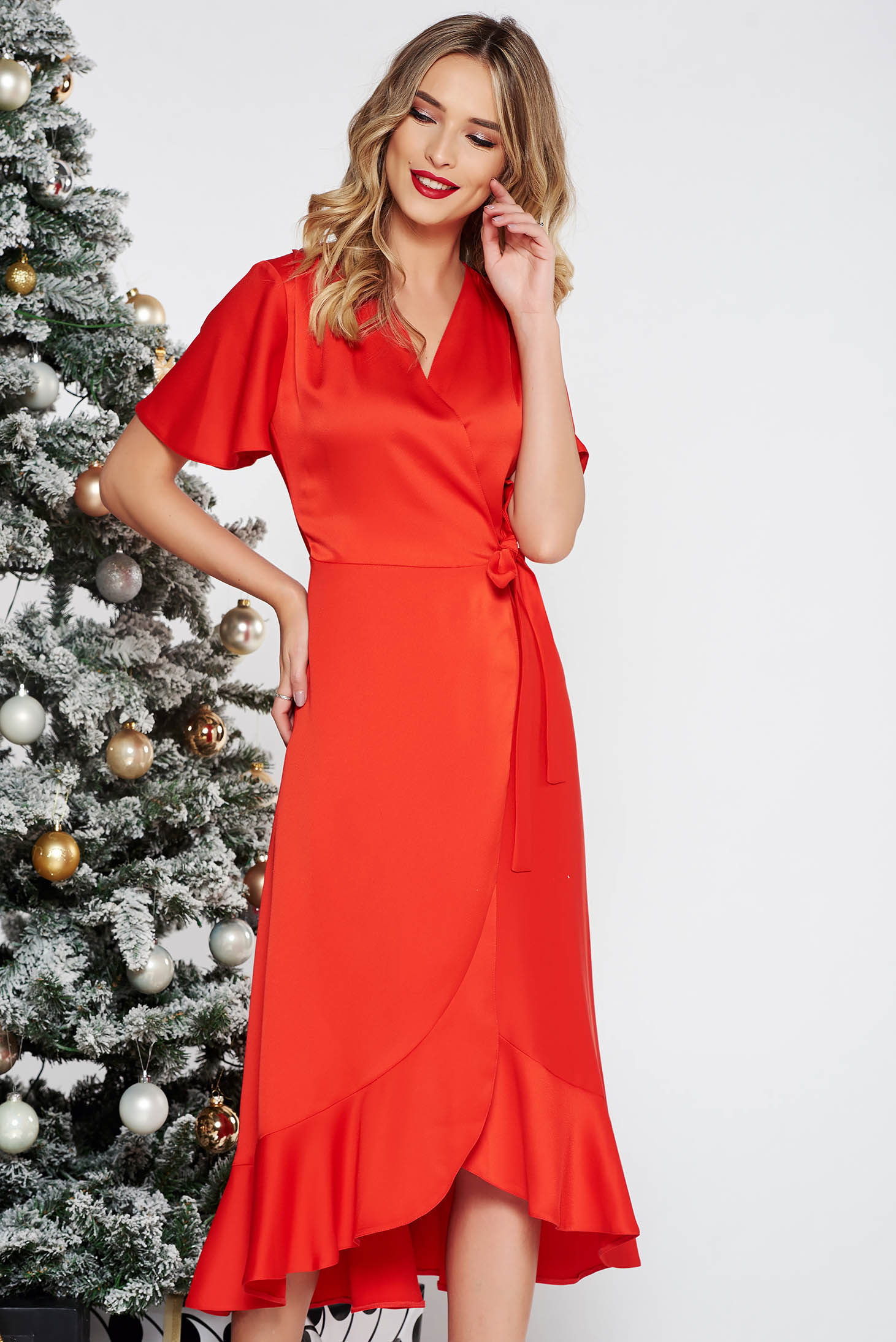 Red occasional wrap around dress non-flexible thin fabric with ruffles at the buttom of the dress