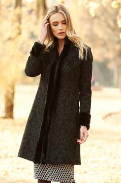 LaDonna black elegant wool coat arched cut with inside lining raised pattern