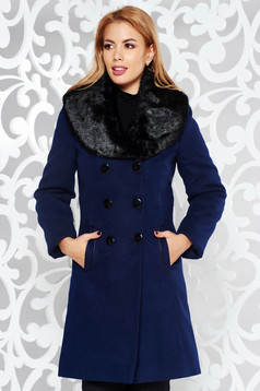 Darkblue coat elegant with inside lining with faux fur accessory wool arched cut