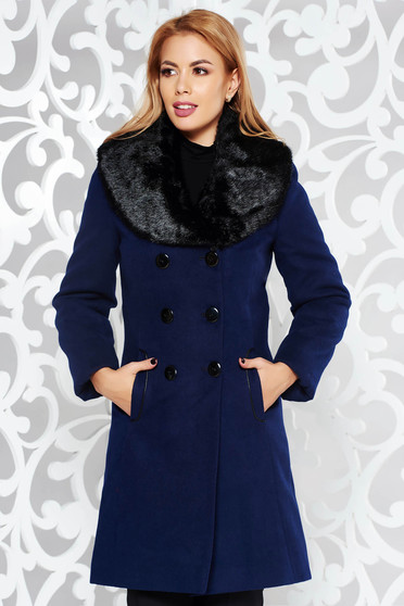 Darkblue elegant wool coat with inside lining with faux fur accessory arched cut