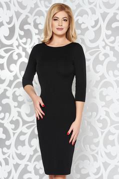 StarShinerS black basic pencil with 3/4 sleeves dress slightly elastic fabric