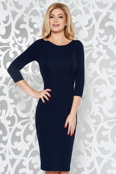 StarShinerS darkblue basic pencil with 3/4 sleeves dress slightly elastic fabric