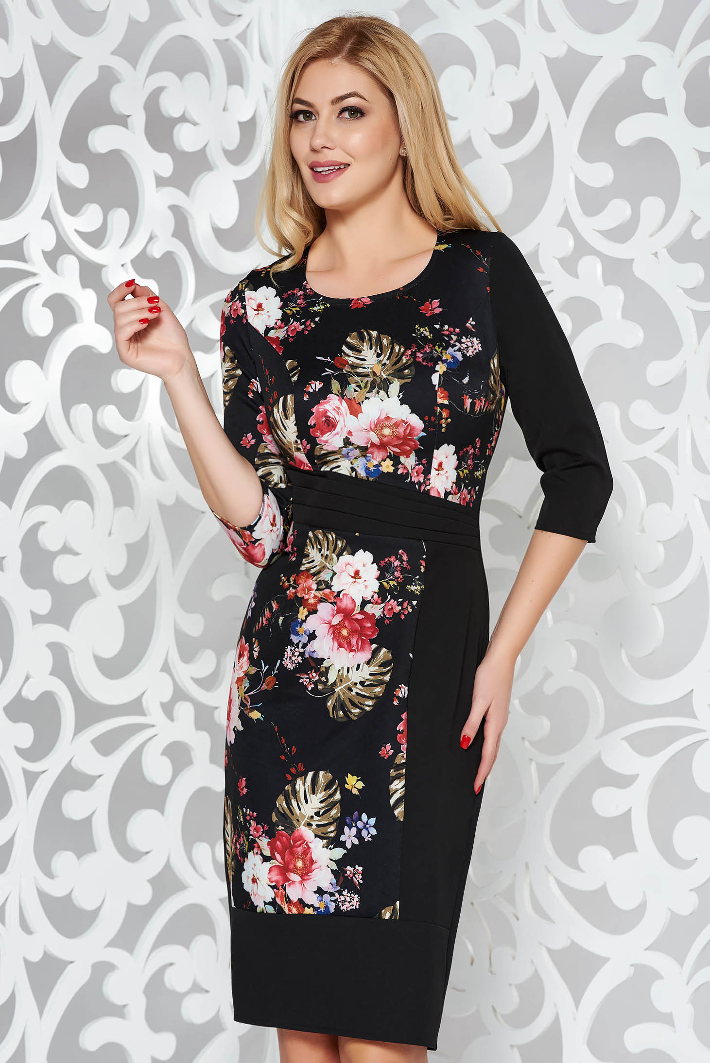 Black dress elegant pencil slightly elastic fabric with floral prints