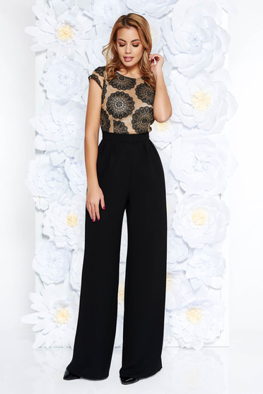 b89e6df17416 StarShinerS black occasional jumpsuit flaring cut slightly elastic fabric  laced short sleeves