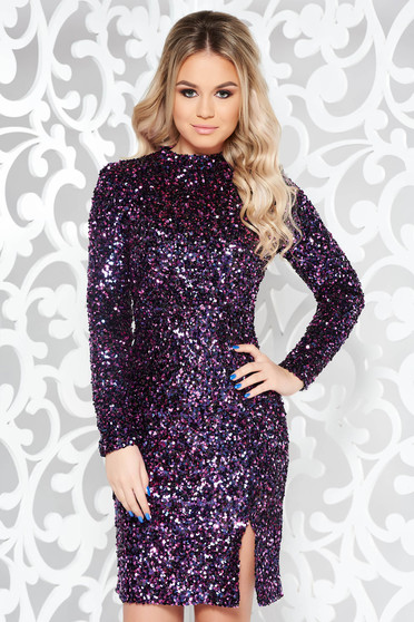StarShinerS purple occasional dress with tented cut with sequins with inside lining turtleneck long sleeve