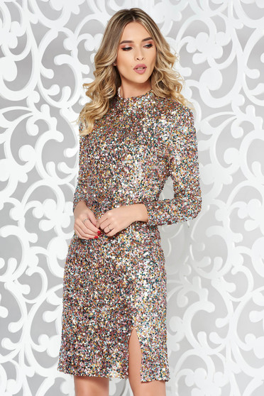 StarShinerS rosa occasional dress with tented cut with sequins with inside lining turtleneck long sleeve
