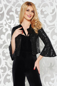 StarShinerS black occasional jacket arched cut with sequins with bell sleeve