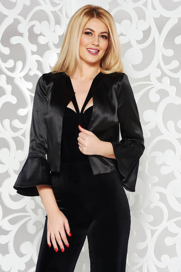StarShinerS black elegant jacket with straight cut from satin fabric texture with bell sleeve