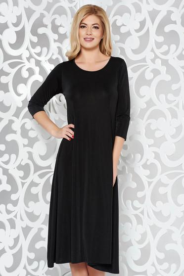 Black casual flared dress soft fabric 3/4 sleeve