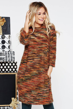 Bricky casual flared knitted dress from fluffy fabric with 3/4 sleeves