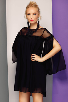 Fofy black occasional flared dress from veil fabric with inside lining