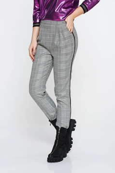 Fofy grey casual conical high waisted trousers from non elastic fabric plaid fabric with pockets