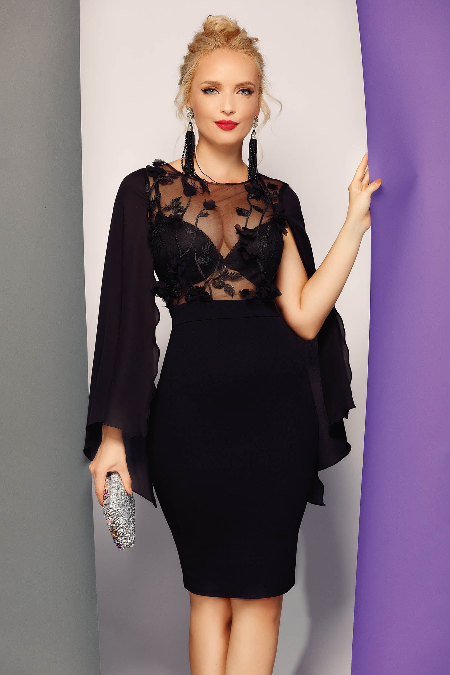 Fofy black occasional pencil dress slightly elastic fabric voile details with floral details with 3d effect