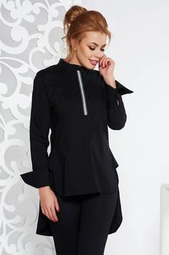 Fofy black casual flared women`s shirt slightly elastic cotton asymmetrical long sleeved