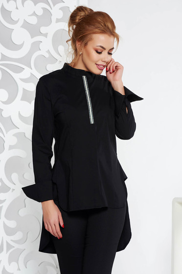 Fofy black casual flared women`s shirt slightly elastic cotton asymmetrical long sleeved