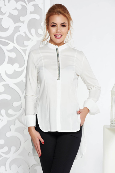 Fofy white casual flared women`s shirt slightly elastic cotton asymmetrical long sleeves