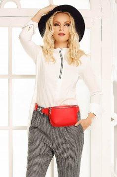 Fofy white casual flared women`s shirt slightly elastic cotton asymmetrical long sleeves