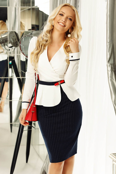 Fofy white women`s shirt office with tented cut slightly elastic cotton accessorized with tied waistband
