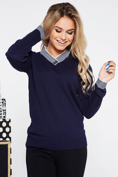 Darkblue casual flared knitted sweater with v-neckline