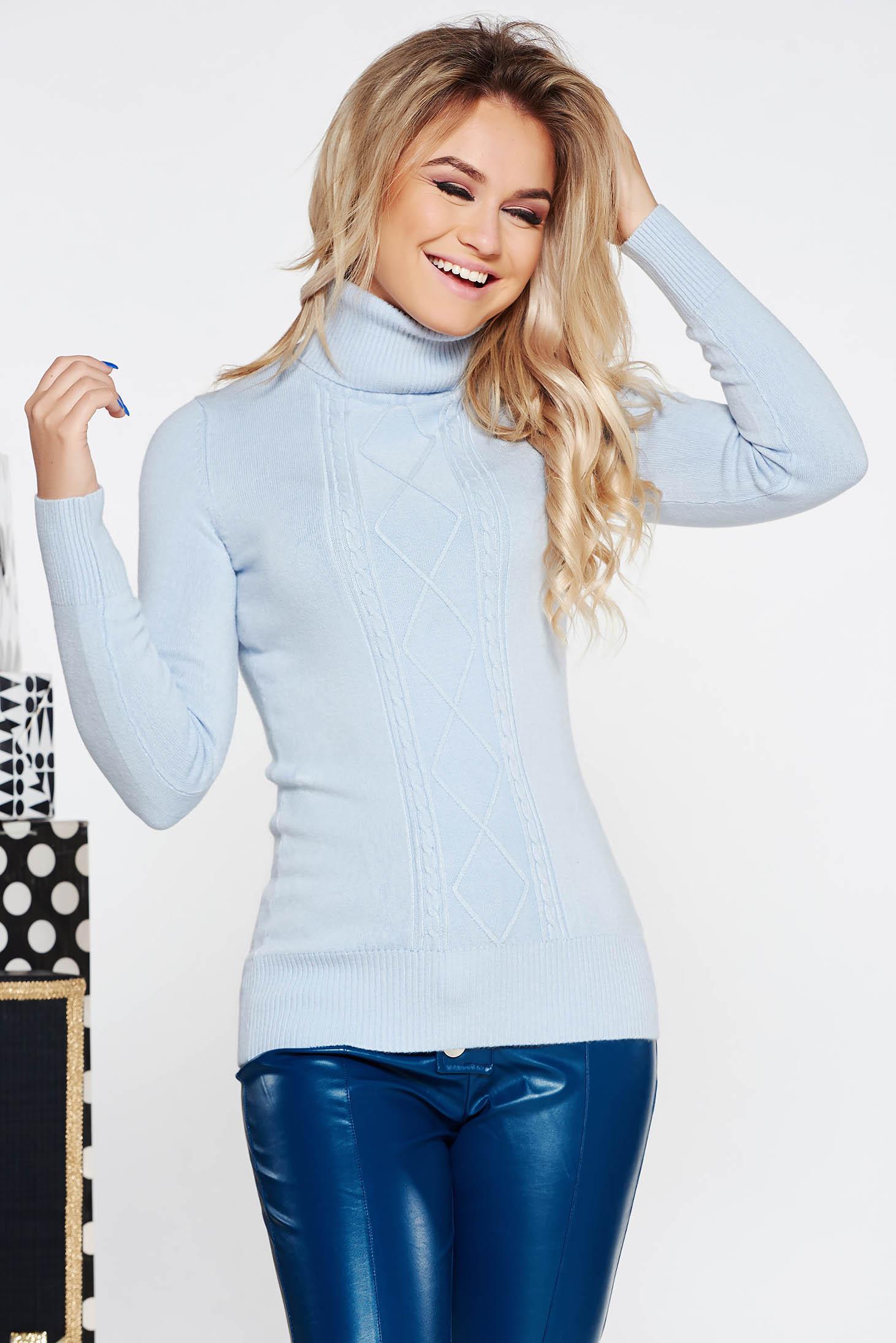 Pulover albastru-deschis casual mulat din material tricotat