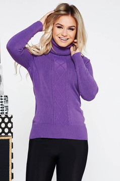 Purple casual tented sweater knitted fabric