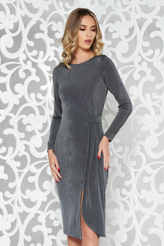 StarShinerS grey occasional dress from elastic fabric with tented cut long sleeve