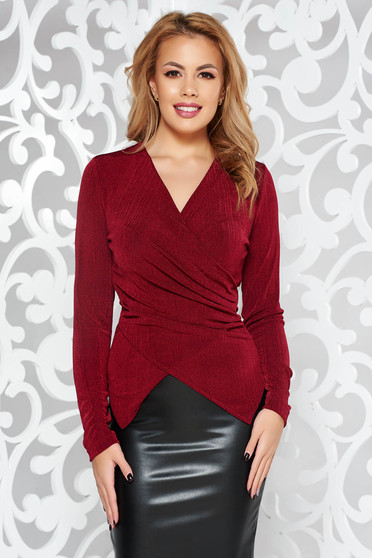 StarShinerS burgundy occasional top shirt with tented cut with v-neckline