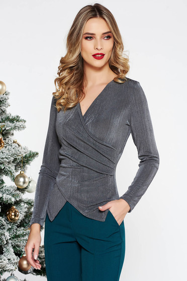 StarShinerS grey occasional top shirt with tented cut with v-neckline
