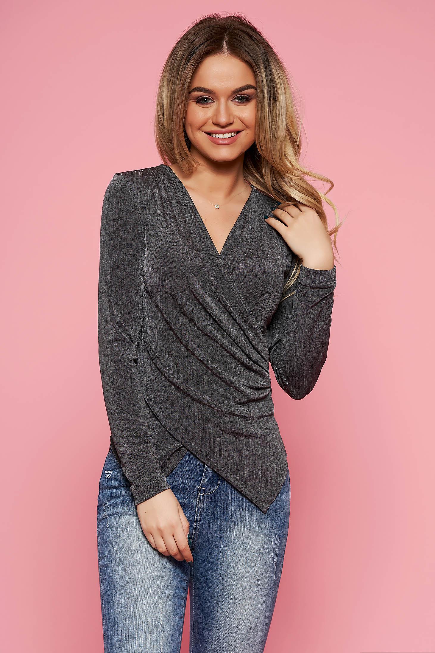 Bluza dama StarShinerS gri de ocazie cu un croi mulat din material elastic cu decolteu in v