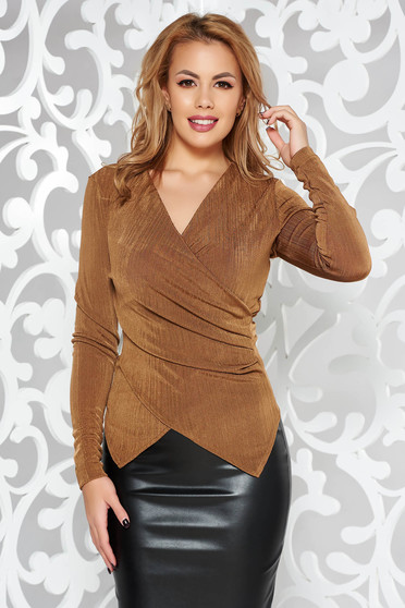 StarShinerS brown occasional top shirt with tented cut with v-neckline