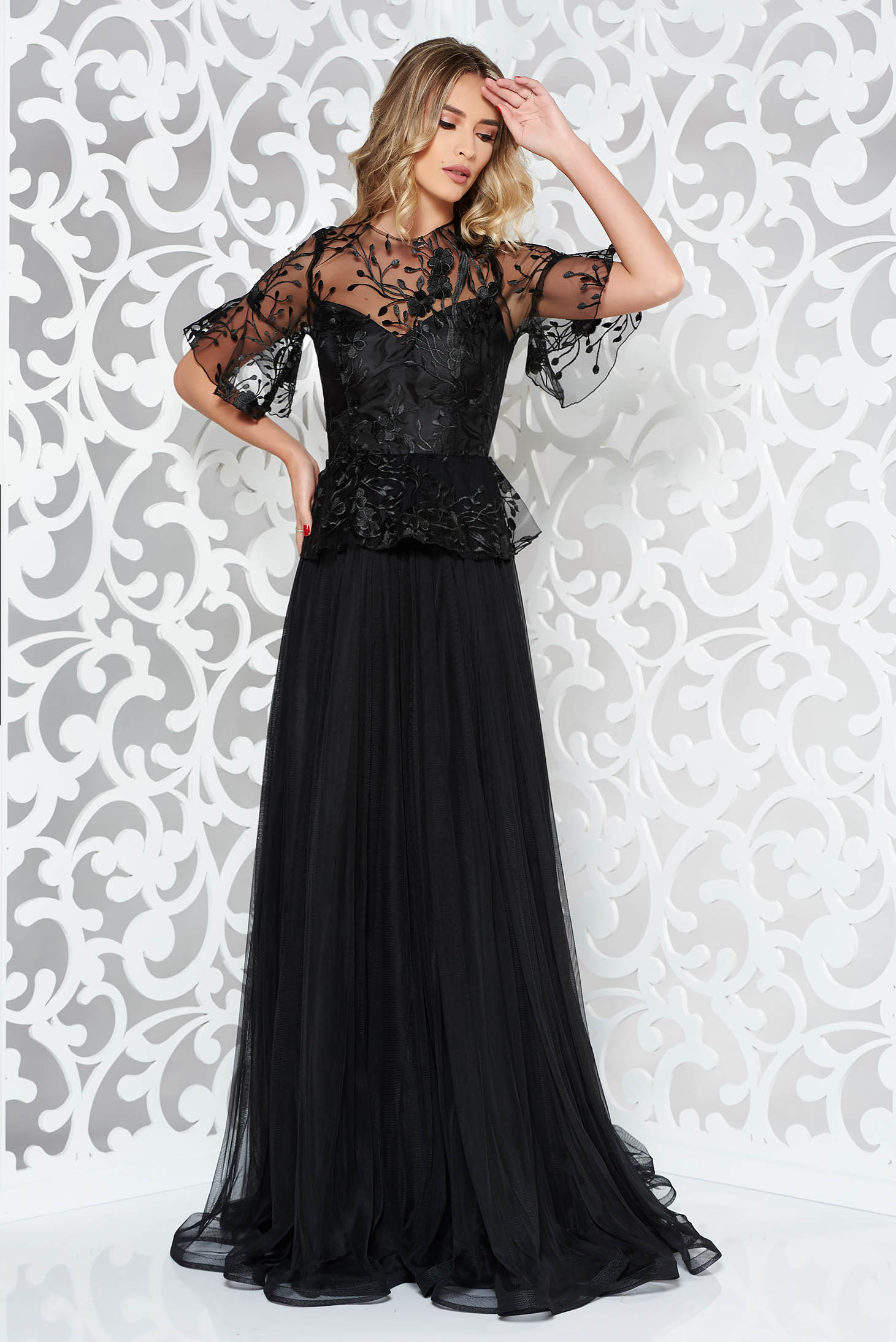 Ana Radu black embroidered luxurious cloche dress from tulle and laced fabric with frilled waist long