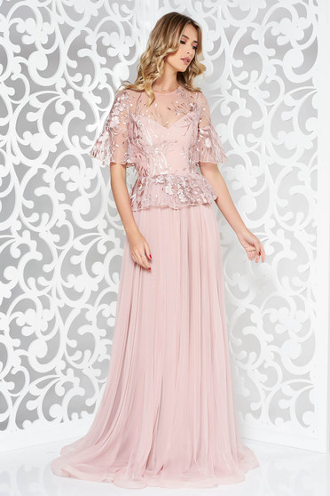 Ana Radu rosa dress luxurious from tulle from laced fabric with frilled waist long cloche embroidered