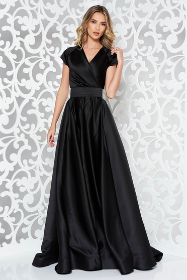 Ana Radu black dress luxurious cloche from satin fabric texture accessorized with tied waistband long